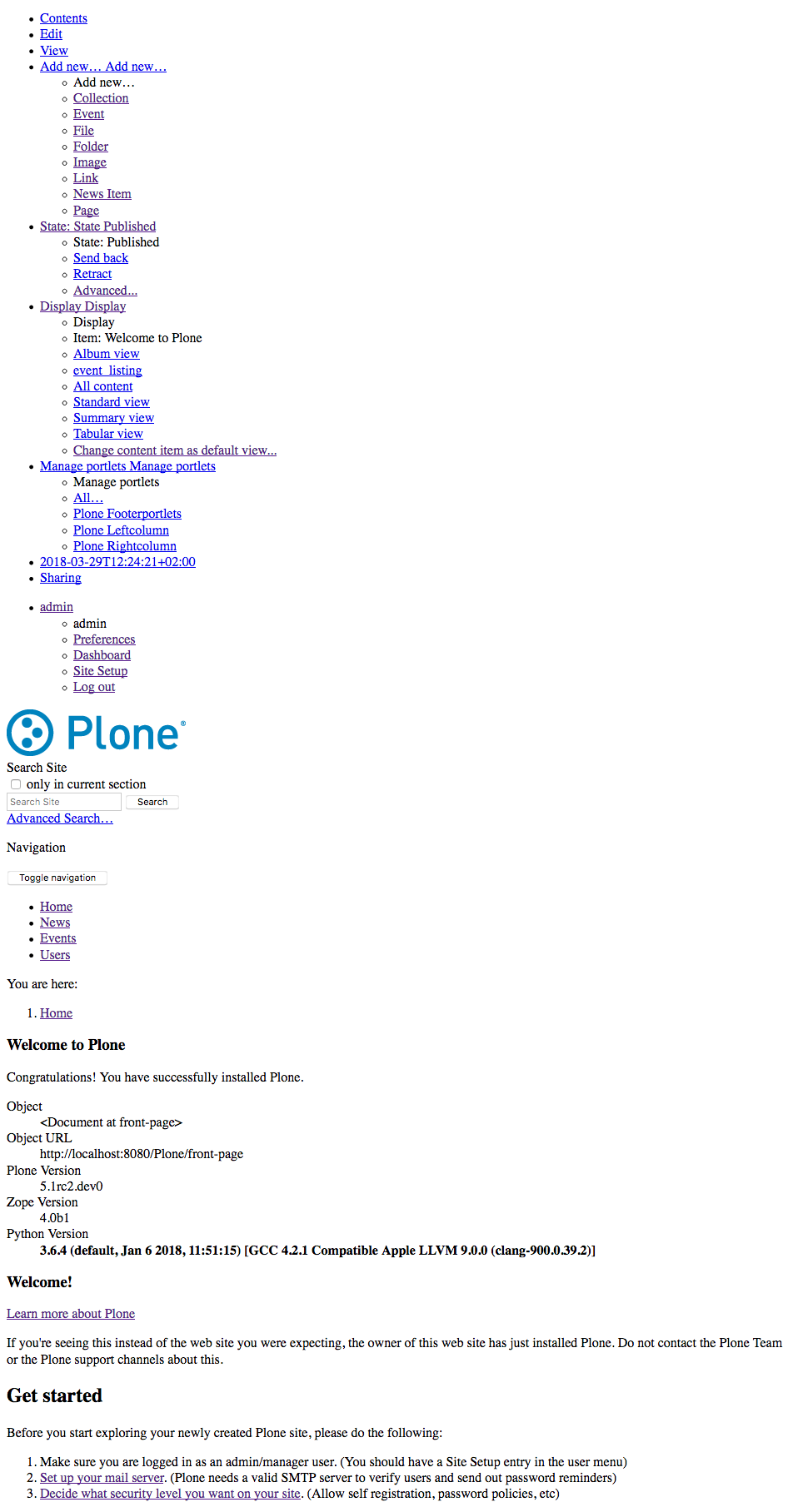 early screenshot of plone with python 3